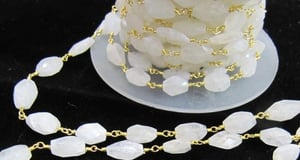 Rainbow Moonstone Oval beads Rosary Gold Chains