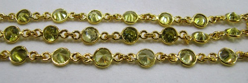 Peridot color Zircon Cut Connector Chain