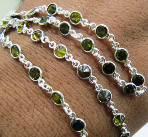 Olive Green zirconia Sterling Silver Tiff chains