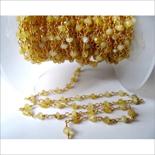 Natural Yellow Opal Beaded Stone Chain
