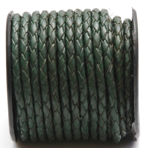 Green Braided Leather Cords