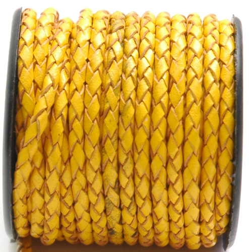 Yellow Braided Leather Cords