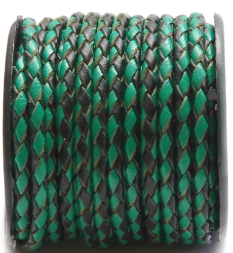 Green/Black Braided Leather Cords