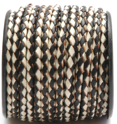 Brown/White Braided Leather Cords