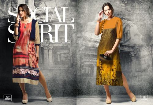 Printed Cotton Satin Kurti