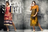 Printed Cotton Satin Kurti