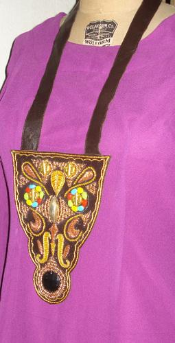 Brown Designer Leather Necklace