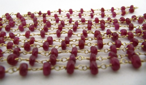 Natural Ruby Beads Chain 18 Kt Fine Gold