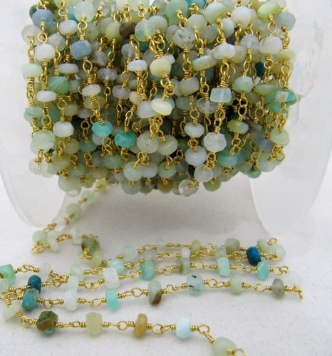Natural Peruvian  Opal Beaded Stone chains