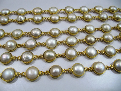 Natural Pearl Round Cabochon connector Chain