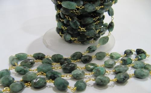 Natural Emerald Beaded Jewelry Chain