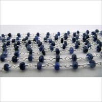 Natural Blue Sapphire Beads Sterling Silver Chains