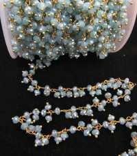 Mystic Aqua Chalcedony Thick  chain