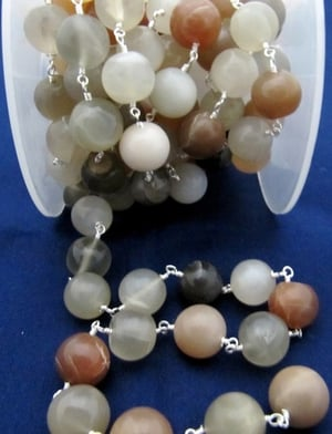 Multi color Moonstone Plain Round Beads Rosary