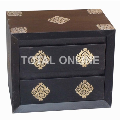 Black Wooden Bedside Table With Carvings