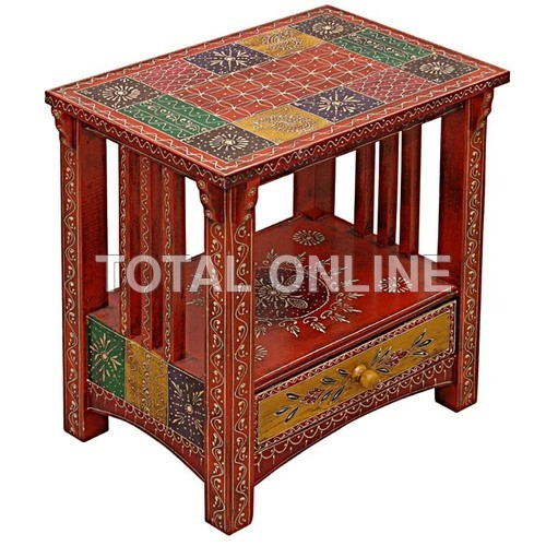 Antique Wooden Hand Made Hand Painted Side Table W