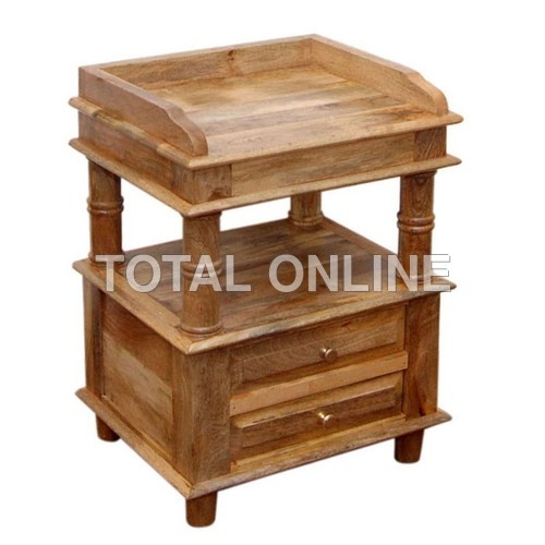 Brown Wooden Bedside Table With Pillars