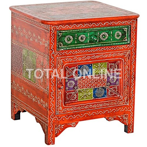 Wooden Hand Painted Bed Side With Drawer