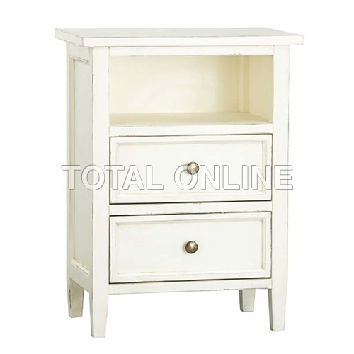 Magnificent White Wooden Bedside Table