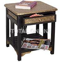 Wooden Side Table With Brass Fitting and Drawer
