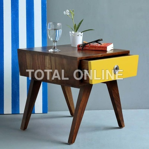Yellow Wooden Bedside Table
