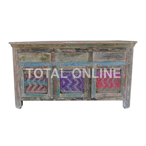 Astonishing Side Board With Colorful Carvings