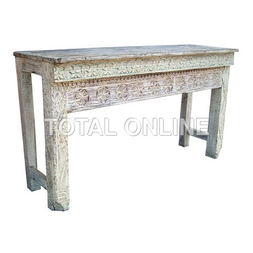 Elegant Wooden Side Table With Carvings