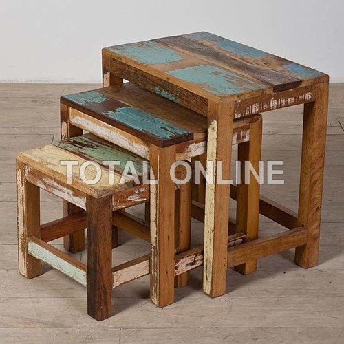 Set of Wooden Hand Made Recycled Wood Stools