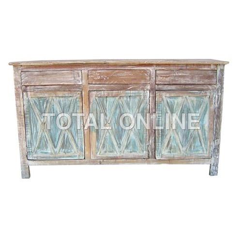 Spellbinding Wooden Sideboard With Carvings