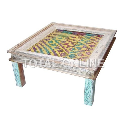 Stunning Pouf Table With Carvings