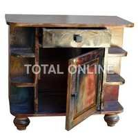 Reclaimed Mango Wood Bedside with 1 Drawer and 1 D