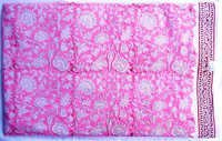 5 YARD HAND BLOCK PRINT 100% COTTON FABRIC PINK DYED FLORAL DESIGN