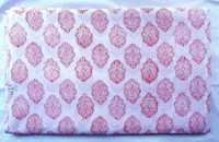 5 YARD HAND BLOCK PRINT 100% COTTON FABRIC PINK DYED PAISLEY DESIGN