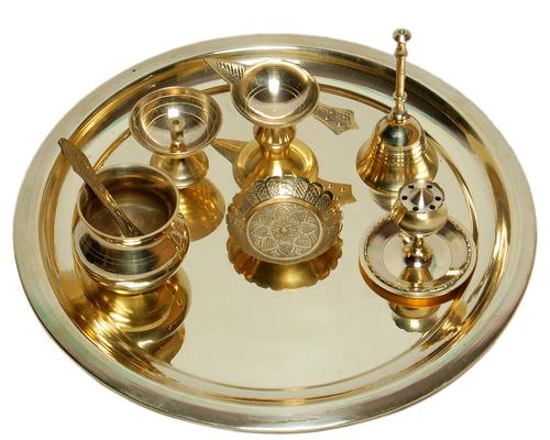 Pooja Thaali set with Heavy Brass - 08 Pcs Set Pooja Kalash, Puja Bell, Incense Holder,