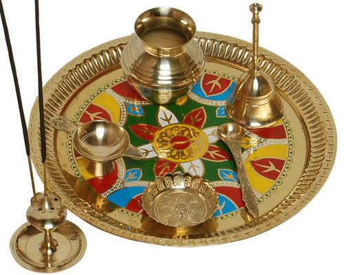 Brass Designer Pooja Thali Set for Diwali Gift Item