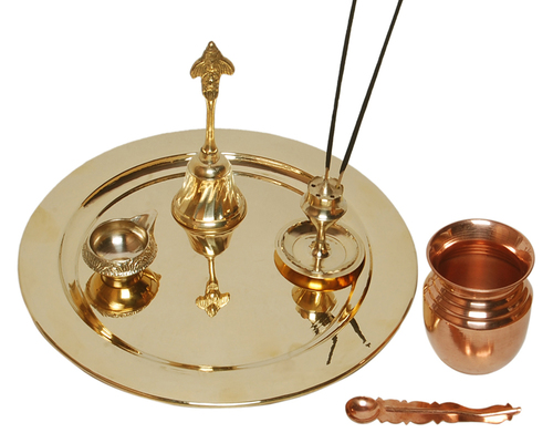 Brass Puja Thaali With Copper Puja Kalash