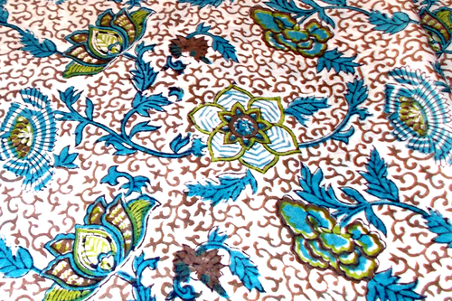 5 YARDS FLORAL PATTERN HAND BLOCK PRINTED HANDMADE 100% COTTON FABRIC