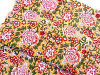 5 YARDS GREEN YELLOW FLORAL PATTERN HAND BLOCK PRINTED HANDMADE 100% COTTON FABRIC
