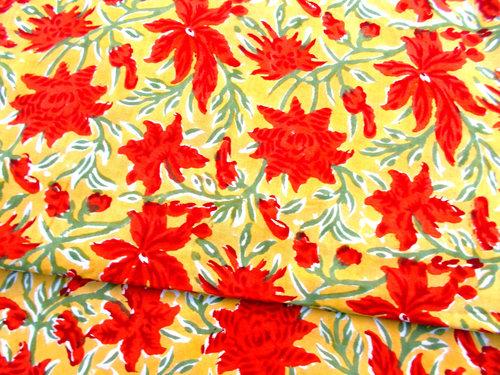 5 YARDS RED YELLOW FLOWER PRINTED HAND BLOCK PRINTED HANDMADE 100% COTTON FABRIC