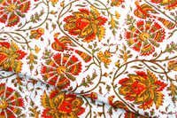 5 YARDS ORANGE FLORAL HAND BLOCK PRINTED HANDMADE 100% COTTON FABRIC