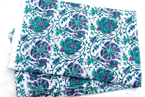 5 YARDS PINK GREEN FLORAL HAND BLOCK PRINTED HANDMADE 100% COTTON FABRIC