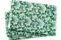 5 YARDS GREEN PAISLEY PATTERNED HAND BLOCK PRINTED HANDMADE 100% COTTON FABRIC