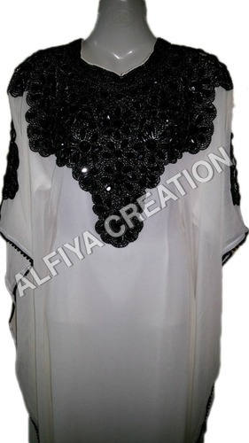 Black embroidery casual fancy farasha kaftan