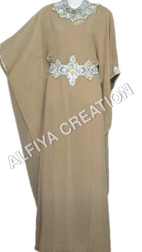 Moroccan style crystal work farasha kaftan dress