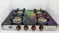 Biogas Four Burner Glass Top