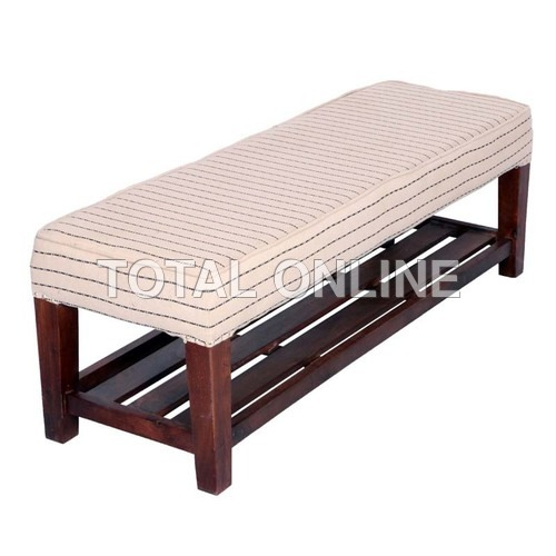 Long Wooden Bench With Upholstered Top