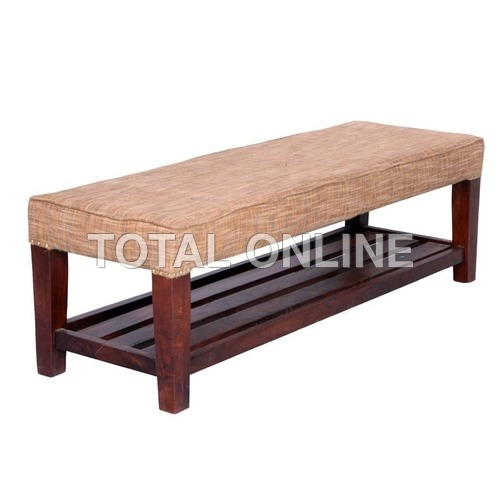 Rectangular Wooden Bench With Upholstered Top