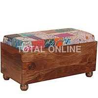 Wooden Storage Trunk Table With Upholstery Seat