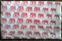 5 YARD HAND BLOCK PRINT 100% COTTON FABRIC SMALL RED ELEPHANT DESIGN