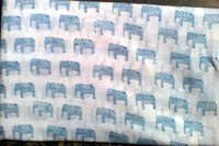5 YARD HAND BLOCK PRINT 100% COTTON FABRIC SMALL BLUE ELEPHANT DESIGN